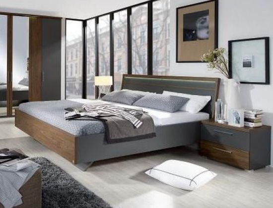 Rauch Renata Graphite with Royal Walnut Double Bed Including Slatted Frame - W 147cm