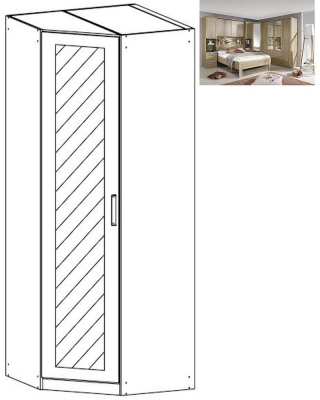 Rauch Rivera 1 Mirror Door Corner Wardrobe with Cornice in Sonoma Oak