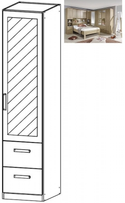 Rauch Rivera 1 Right Mirror Door 2 Drawer Combi Wardrobe with Cornice in Sonoma Oak