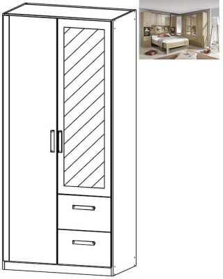 Rauch Rivera 2 Door 1 Mirror 2 Right Drawer Combi Wardrobe with Cornice in Sonoma Oak