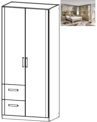 Rauch Rivera 2 Door 2 Left Drawer Combi Wardrobe with Cornice in Sonoma Oak