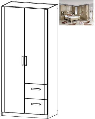 Rauch Rivera 2 Door 2 Right Drawer Combi Wardrobe with Cornice in Sonoma Oak