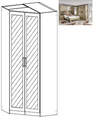 Rauch Rivera 2 Mirror Door Corner Wardrobe with Cornice in Sonoma Oak