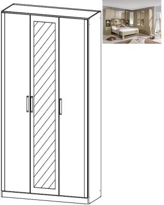 Rauch Rivera 3 Door 1 Mirror Wardrobe with Cornice in Sonoma Oak