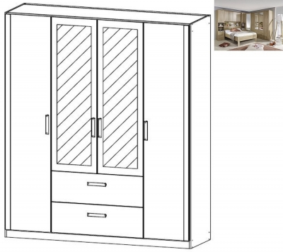 Rauch Rivera 4 Door 2 Mirror 2 Drawer Combi Wardrobe with Cornice in Sonoma Oak