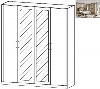 Rauch Rivera 4 Door 2 Mirror Wardrobe with Cornice in Sonoma Oak