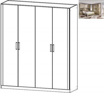 Rauch Rivera 4 Door Wardrobe with Cornice in Sonoma Oak