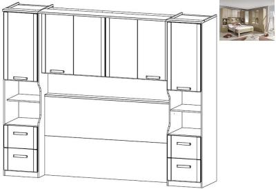 Rauch Rivera Overbed Unit for Divan Bed in Sonoma Oak - 140cm x 190cm