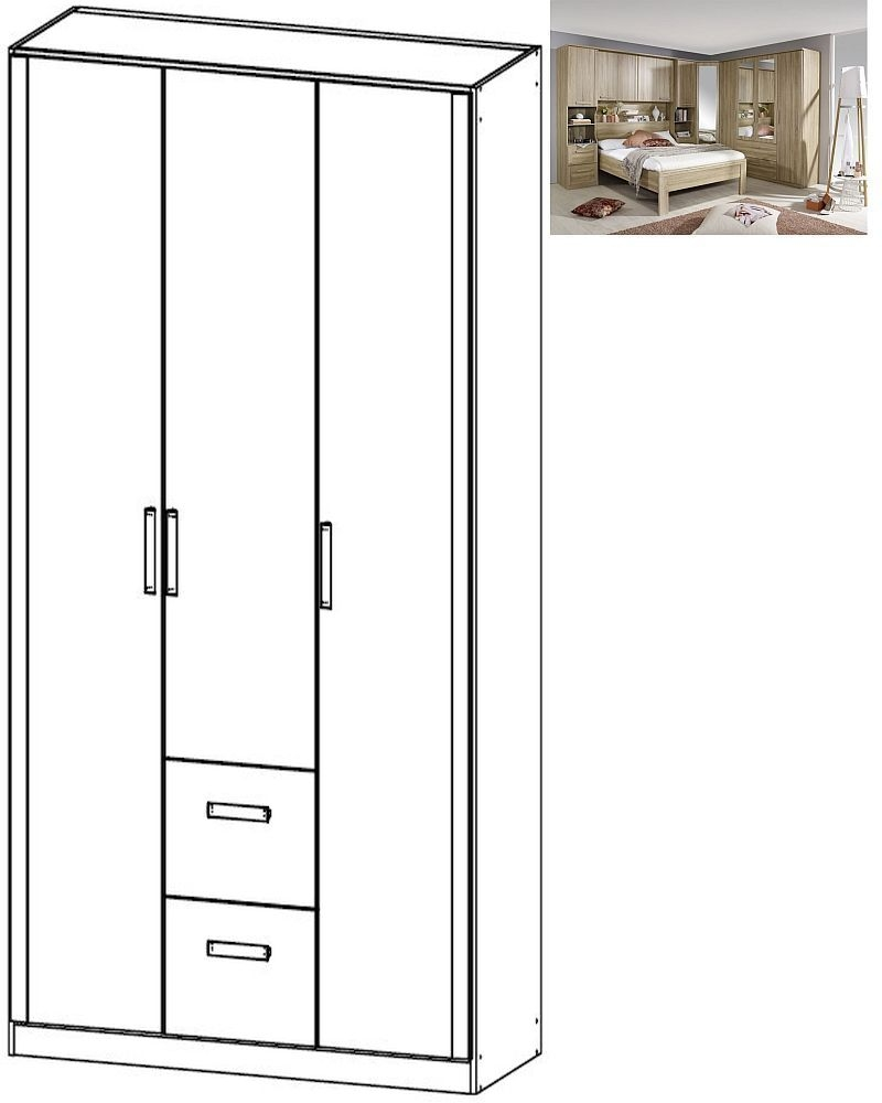 Rauch Rivera 3 Door 2 Drawer Combi Wardrobe with Cornice in Sonoma Oak