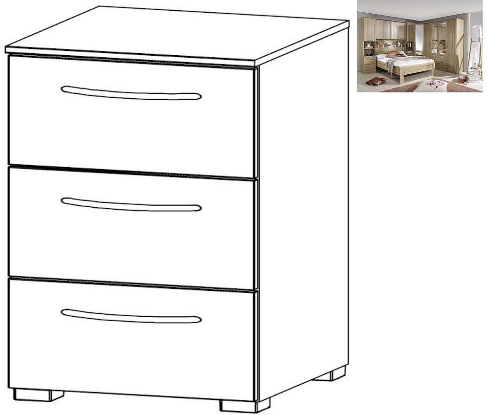 Rauch Rivera 3 Drawer Bedside Cabinet in Sonoma Oak - W 40cm