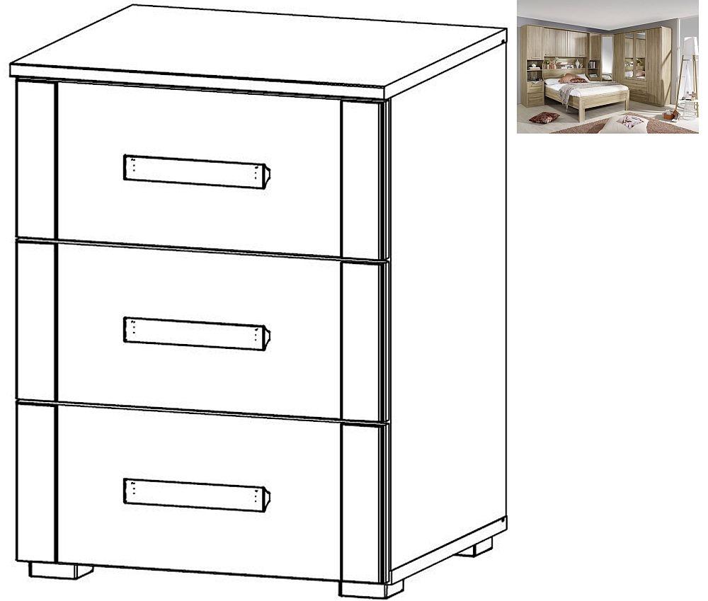 Rauch Rivera 3 Drawer Bedside Cabinet in Sonoma Oak