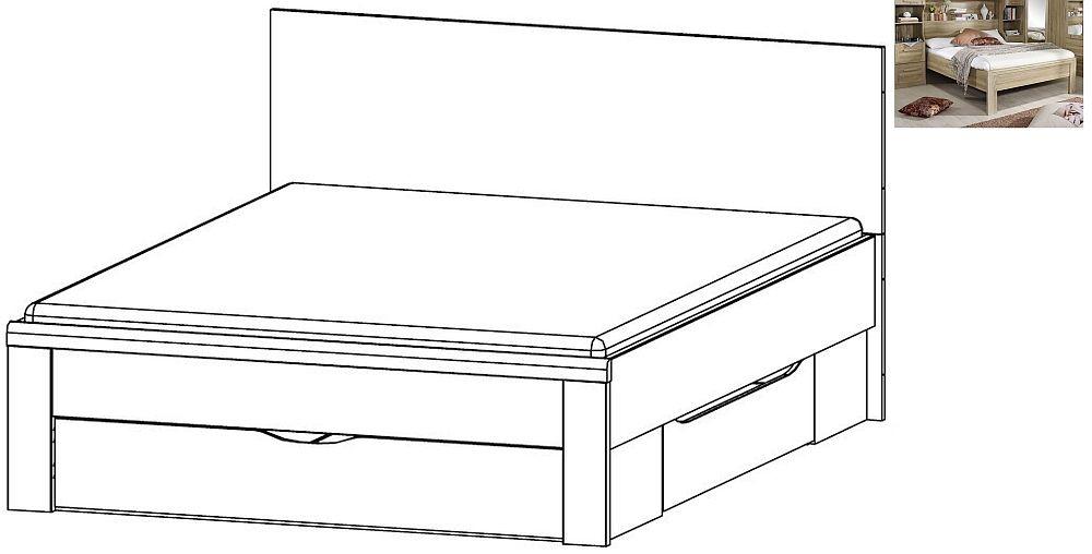 Rauch Rivera 5ft King Size Storage Bed in Sonoma Oak - 160cm x 200cm