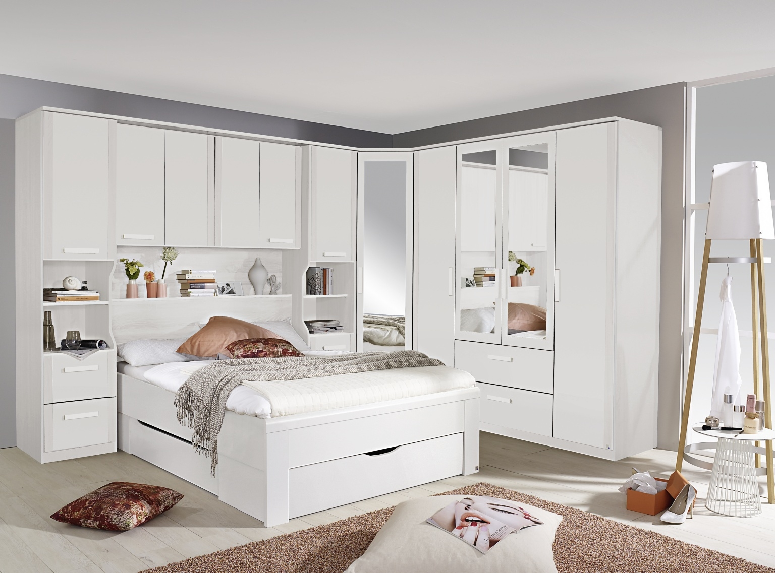 Rauch Rivera Alpine White Overbed for Beds with Wall Panel and Book Storage for Divan Beds - 140cm x 190cm