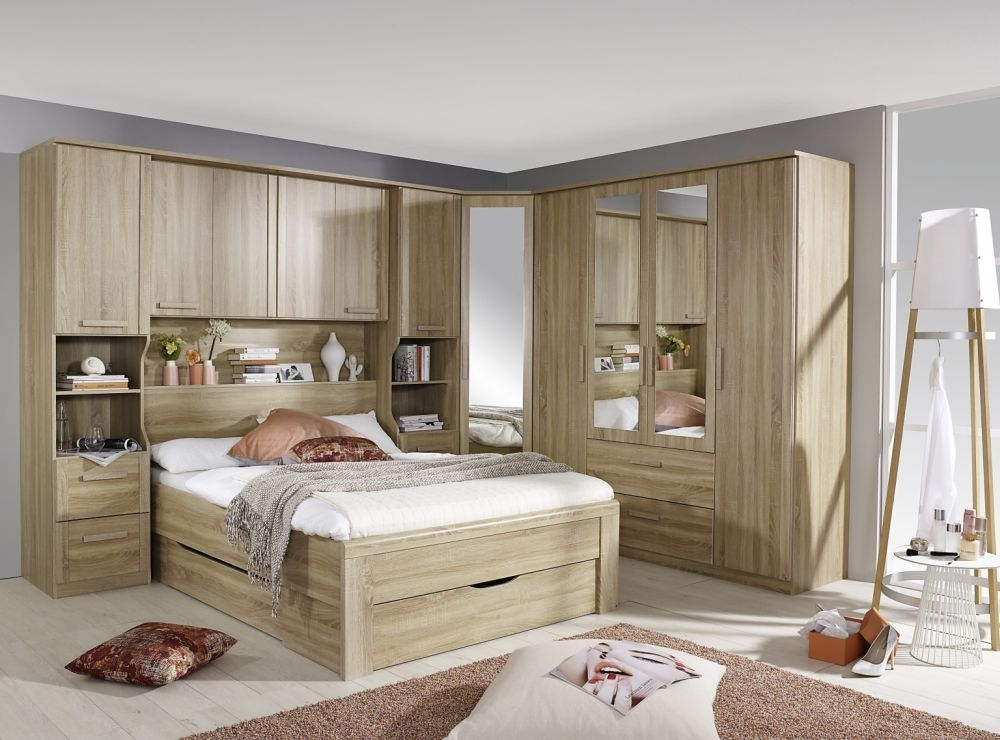 Rauch Rivera Sonoma Oak 4 Door 2 Mirror 2 Drawer Combi Wardrobe with Cornice - W 181cm