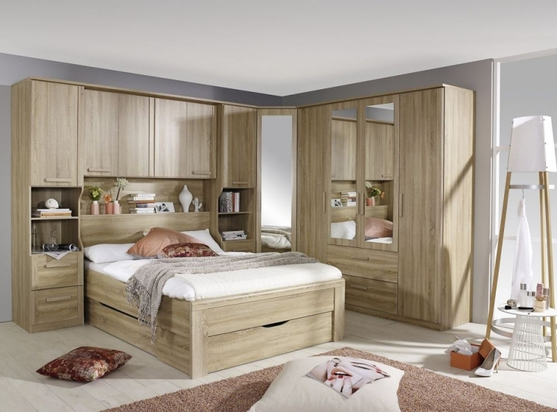 Rauch Rivera Overbed Unit Bedroom Set with 160cm Bed and Drawer in Sonoma Oak