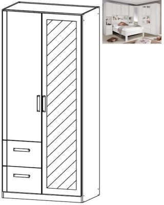 Rauch Rivera 2 Door 1 Left Mirror 2 Drawer Combi Wardrobe with Cornice in Alpine White