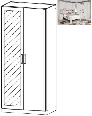 Rauch Rivera 2 Door 1 Mirror Wardrobe with Cornice in Alpine White