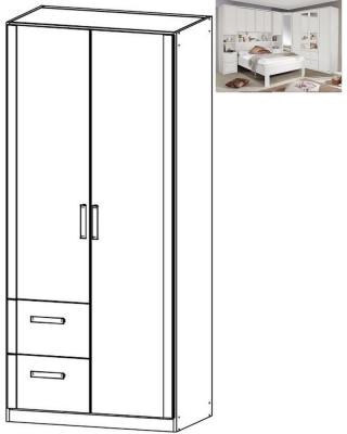 Rauch Rivera 2 Door 2 Left Drawer Combi Wardrobe with Cornice in Alpine White