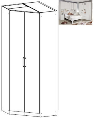 Rauch Rivera 2 Door Corner Wardrobe with Cornice in Alpine White