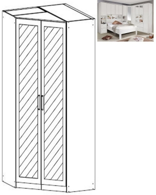 Rauch Rivera 2 Mirror Door Corner Wardrobe with Cornice in Alpine White