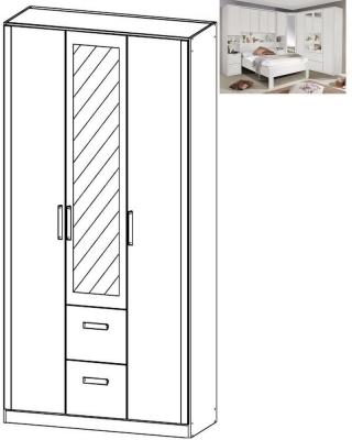 Rauch Rivera 3 Door 1 Mirror 2 Drawer Combi Wardrobe with Cornice in Alpine White
