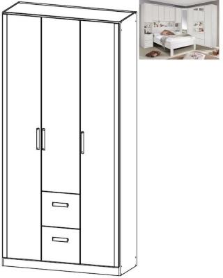 Rauch Rivera 3 Door 2 Drawer Combi Wardrobe with Cornice in Alpine White