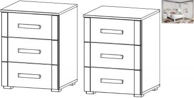 Rauch Rivera 3 Drawer Bedside Cabinet in Alpine White - (Pair)