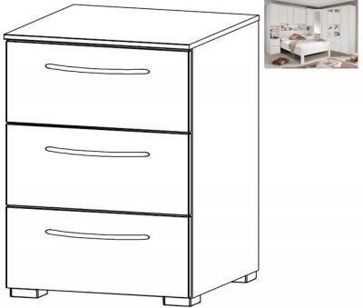 Rauch Rivera 3 Drawer Bedside Cabinet in Alpine White - W 40cm