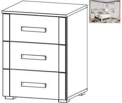 Rauch Rivera 3 Drawer Bedside Cabinet in Alpine White