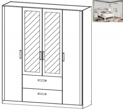 Rauch Rivera 4 Door 2 Mirror 2 Drawer Combi Wardrobe with Cornice in Alpine White