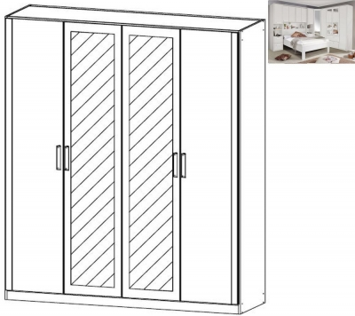 Rauch Rivera 4 Door 2 Mirror Wardrobe with Cornice in Alpine White