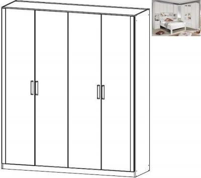 Rauch Rivera 4 Door Wardrobe with Cornice in Alpine White