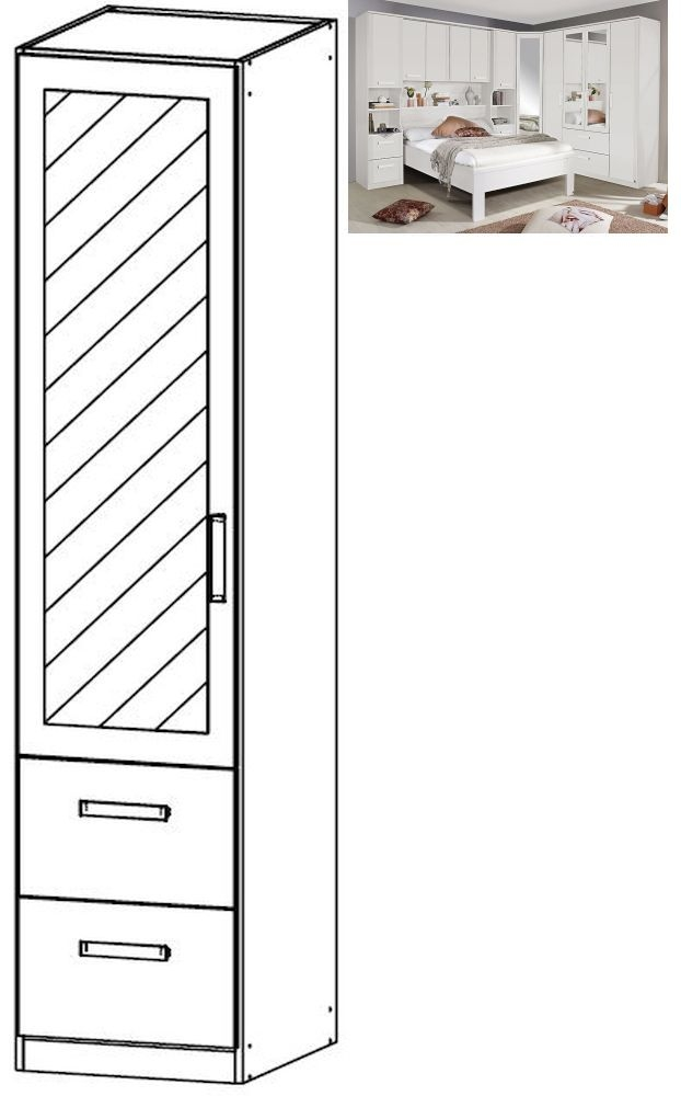 Rauch Rivera 1 Left Mirror Door 2 Drawer Combi Wardrobe with Cornice in Alpine White