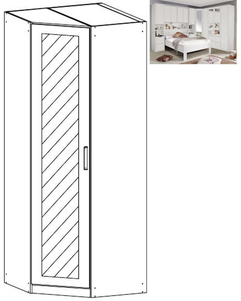 Rauch Rivera 1 Mirror Door Corner Wardrobe with Cornice in Alpine White