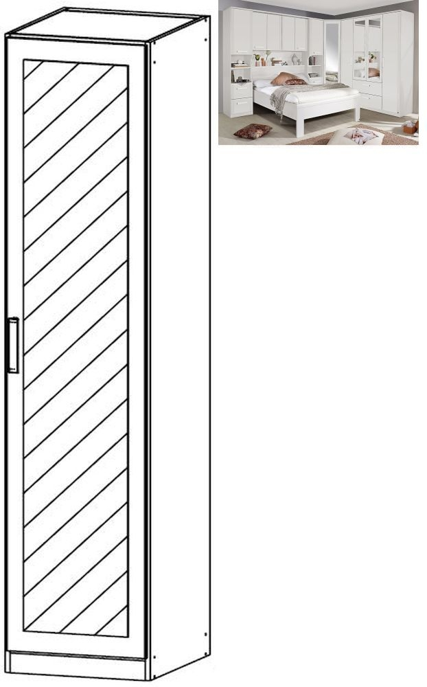 Rauch Rivera 1 Mirror Door Wardrobe with Cornice in Alpine White