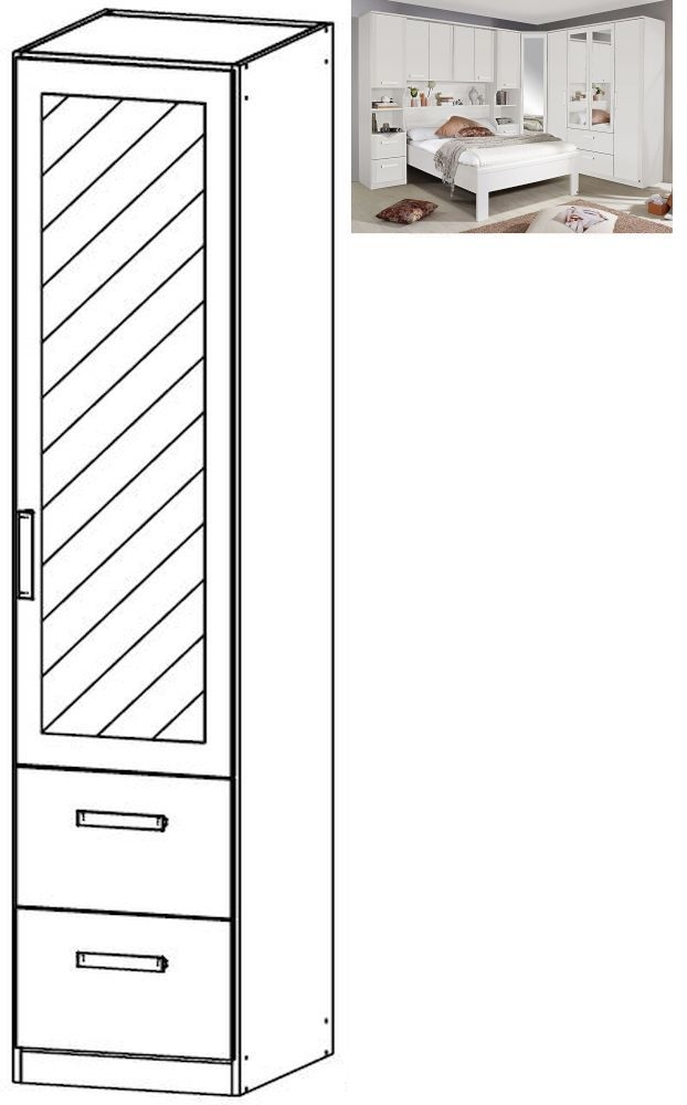 Rauch Rivera 1 Right Mirror Door 2 Drawer Combi Wardrobe with Cornice in Alpine White