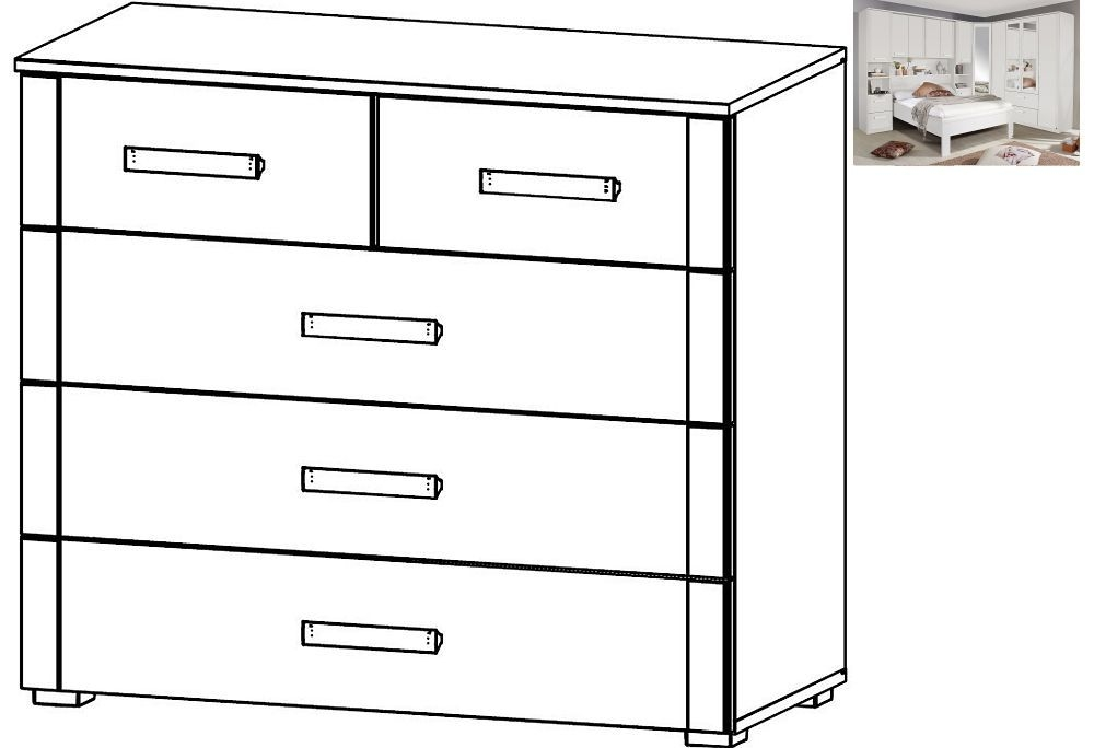 Rauch Rivera 2+3 Drawer Chest in Alpine White