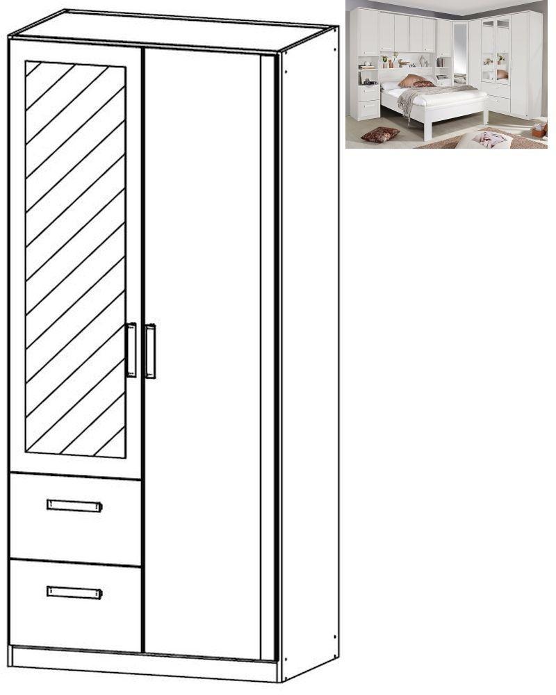 Rauch Rivera 2 Door 1 Mirror 2 Left Drawer Combi Wardrobe with Cornice in Alpine White