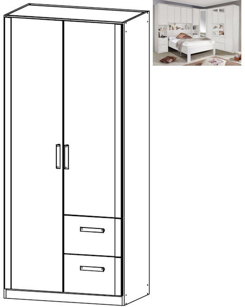 Rauch Rivera 2 Door 2 Right Drawer Combi Wardrobe with Cornice in Alpine White