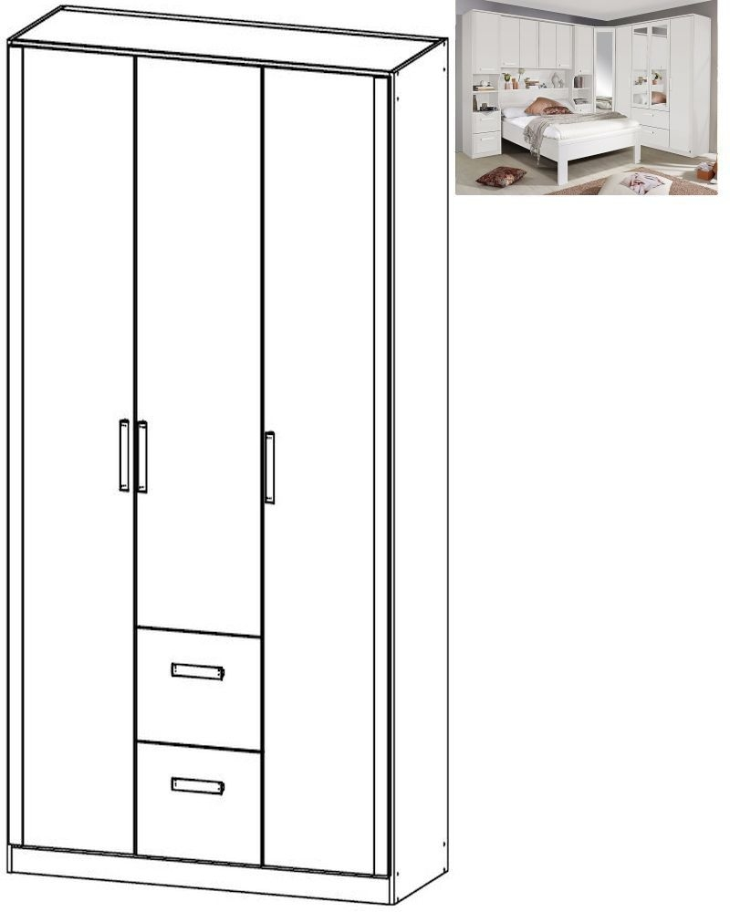 Rauch Rivera 3 Door 2 Drawer Combi Wardrobe with Cornice in Alpine White