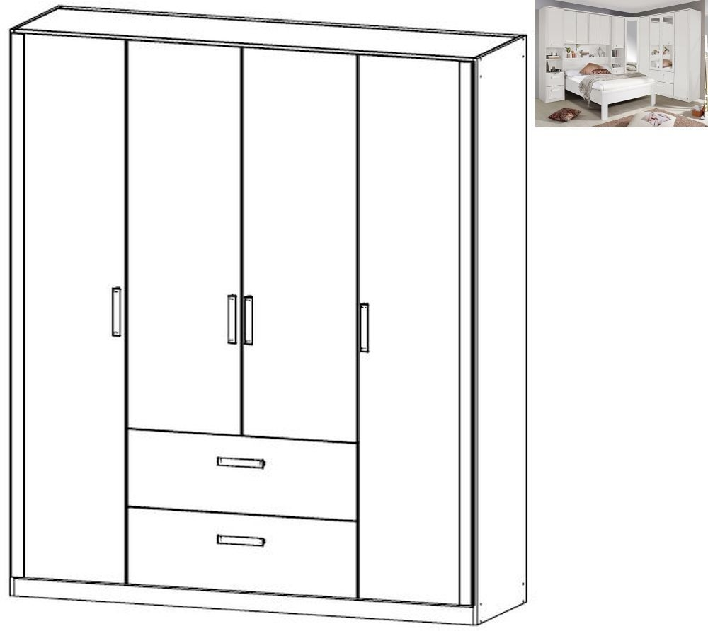 Rauch Rivera 4 Door 2 Drawer Combi Wardrobe with Cornice in Alpine White