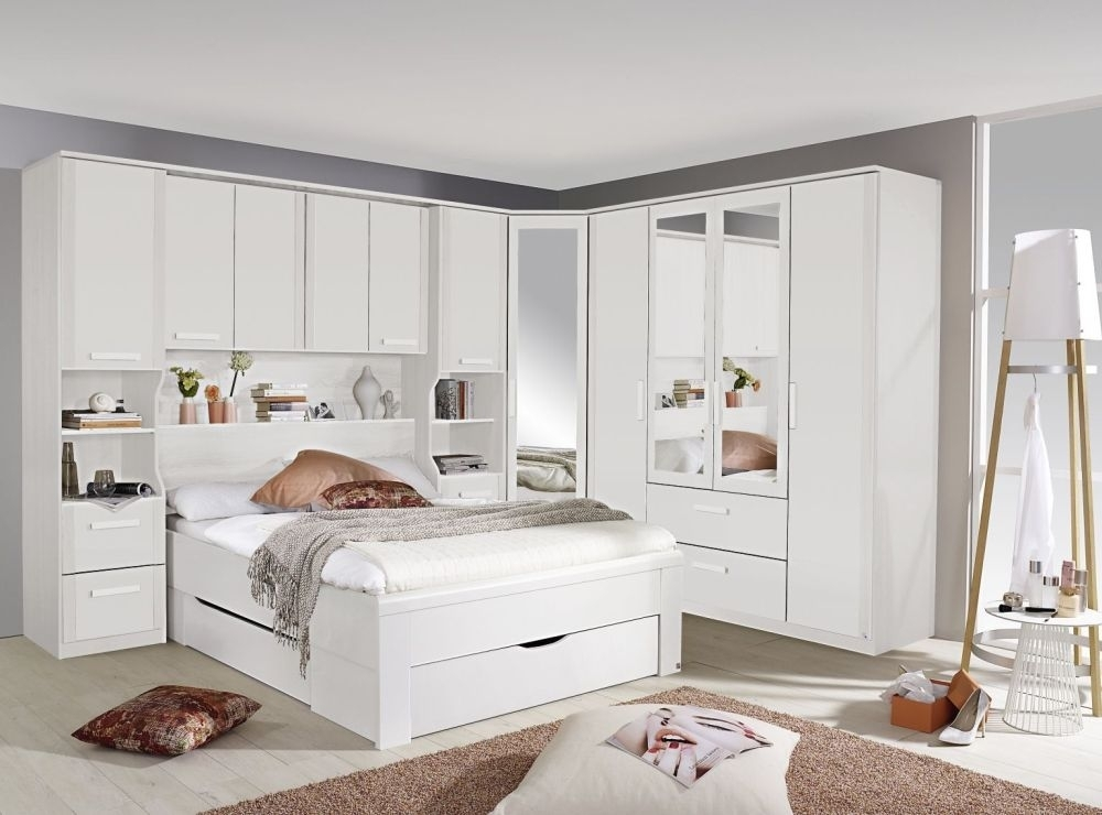 Rauch Rivera Alpine White Overbed Unit Bedroom Set with 140cm Bed with Drawer
