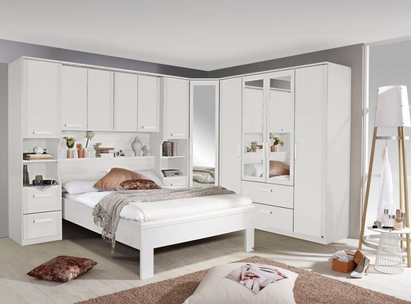Rauch Rivera White 1 Mirror Door Corner Wardrobe in Alpine White