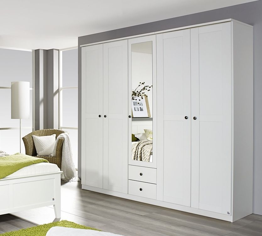 Rauch Rosenheim Alpine White 5 Door 2 Drawer 1 Mirror Combi Wardrobe with Cornice - W 226cm