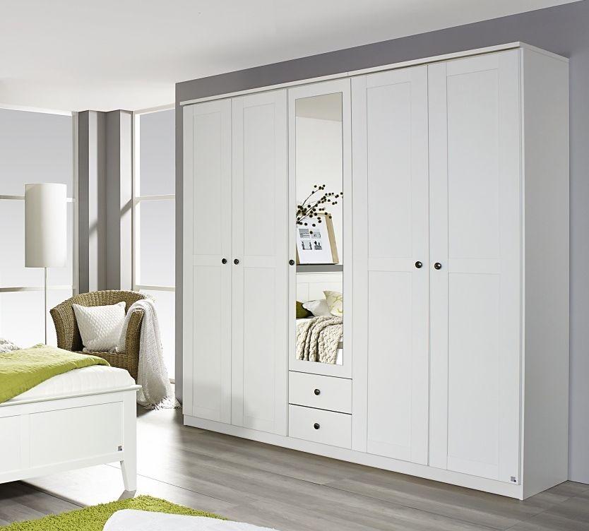 Rauch Rosenheim 5 Door 2 Drawer 1 Mirror Combi Wardrobe in Alpine White with Cornice - W 226cm