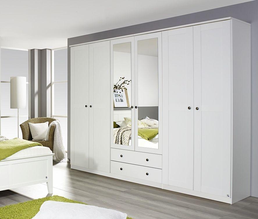 Rauch Rosenheim Alpine White 6 Door 2 Drawer 2 Mirror Combi Wardrobe with Cornice - W 271cm