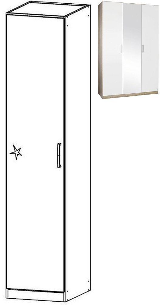 Rauch Samos 1 Door Corner Wardrobe in Sonoma Oak and High Gloss White