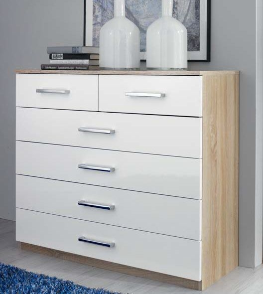 Rauch Samos 2+4 Drawer Chest in Sonoma Oak and High Gloss White