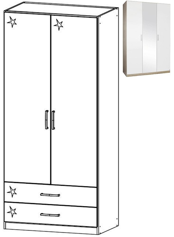 Rauch Samos 2 Door 2 Drawer Combi Wardrobe in Sonoma Oak and High Gloss White