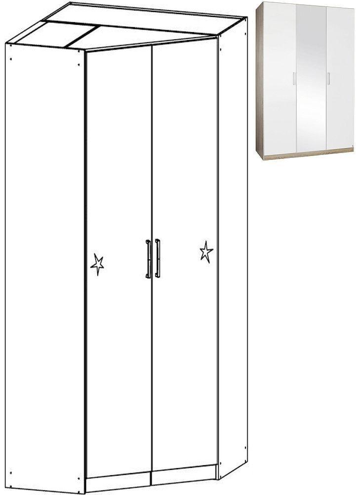 Rauch Samos 2 Door Corner Wardrobe in Sonoma Oak and High Gloss White